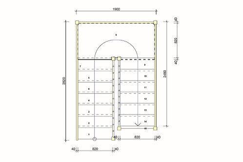 Лестница 180 гр прямая площадка