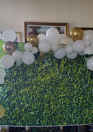 Custom Backdrop with Balloon Arch by Passion Driven Parties