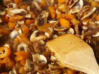 Quinoa con champiñones y calabaza asada