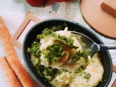 Puchero de kale, mijo y tofu ahumado