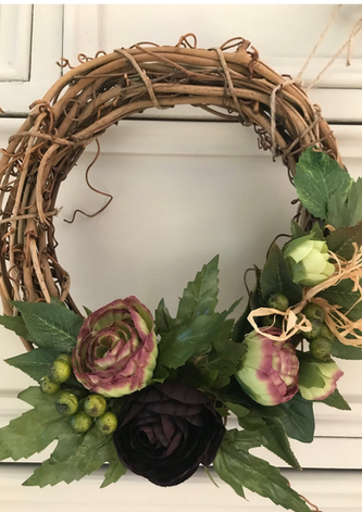 Small Willow Wreath with Silk Flowers