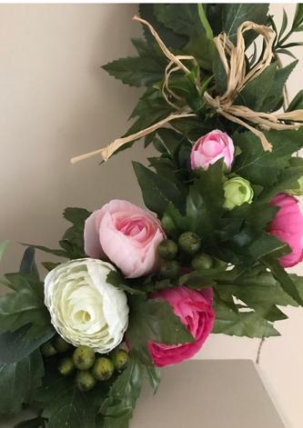 Summery Pink Silk Flower Wreath