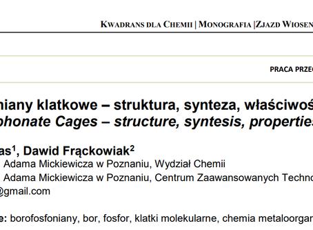 """Artykuł przeglądowy Natalii Pietras i dr Fhrątza w monografii """"Kwadrans dla Chemii"""" SSPTChem"""
