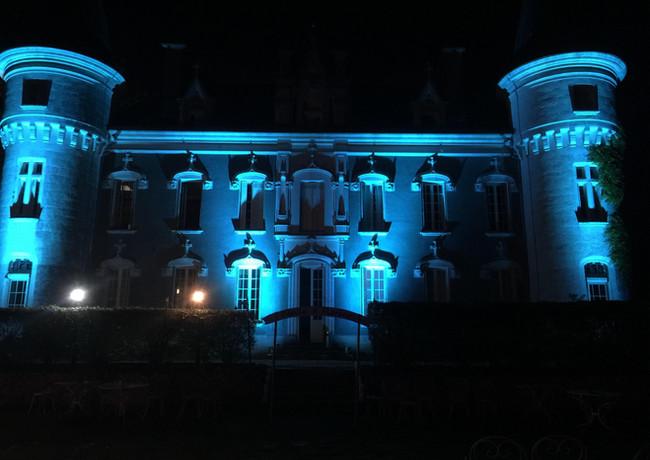 Chateau belle époque. Mise en lumière architechturale - décoratrice de mariage - Landes 40