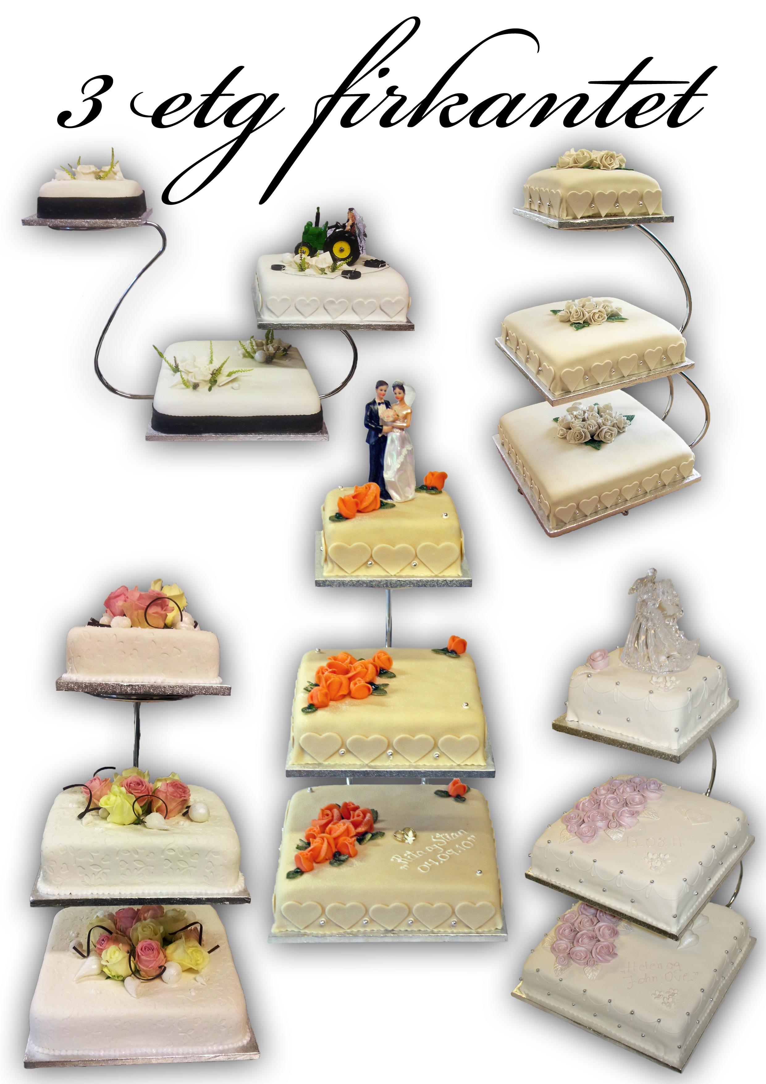 Bryllupskaker 3 etg firkantet bryllup