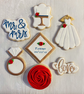 Red Rose and Navy Bridal Wedding Cookie