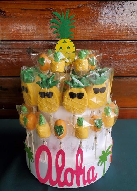Aloha Luau Pineapple Cake Pops and Choco