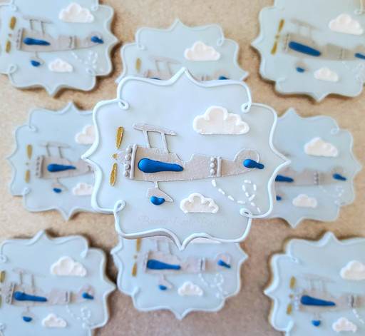 Vintage Blue Airplane Baby Shower Cookie