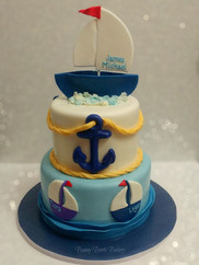 Anchor Nautical Sailboat Baby Shower Cak