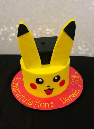 Pikachu Pokemon Graduation Cake.jpg