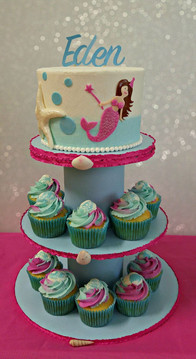Mermaid Cake with Cupcake Tower.jpg