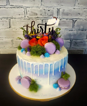 Pastel Watercolor Drip Cake with Fresh F