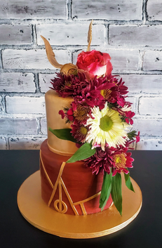 Harry Potter Flower Cascade Wedding Cake