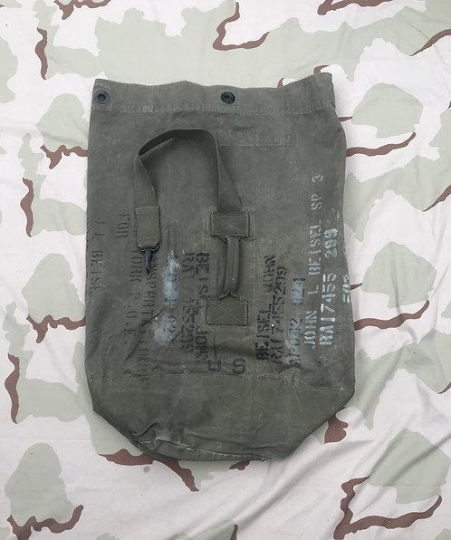 US Military Vintage Bag Duffel Canvas OD Type 1 J.Q.M.D. Korea 1953