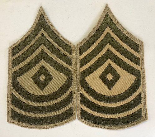 US Army WW2 First Sergeant Khaki Twill Rank - Pair