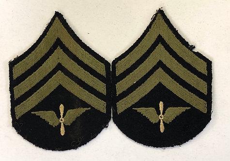 US Army Air Corps WW2 Sergeant Navy Wool Ranks - Pair