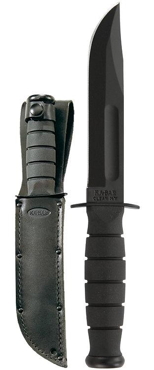 1256 Black Short Ka-Bar Knife - Straight Edge