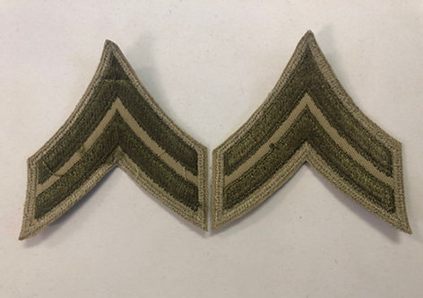 US Army WW2 Corporal Khaki Twill Ranks - Pair