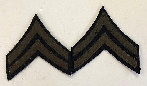 US Army Pre-WW2 Corporal Navy Blue Wool Ranks - Pair