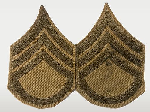 US Army WW2 Staff Sergeant Khaki Twill Ranks - Pair