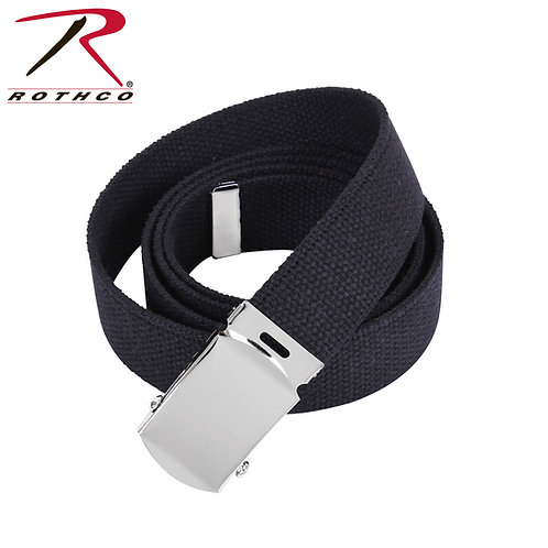 Military Black Cotton Web Belt w/ Silver Buckle