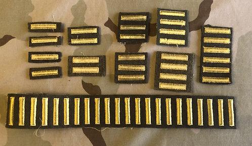 WW2 Vintage Gold & Brown Overseas Service Bars