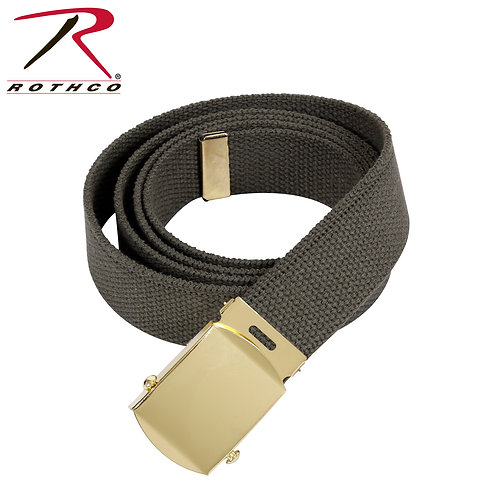 Military Green Cotton Web Belt w/ Gold Buckle