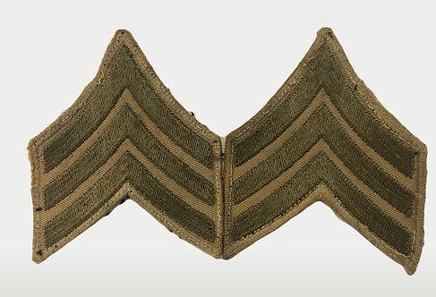 US Army WW2 Sergeant Khaki Twill Ranks - Pair