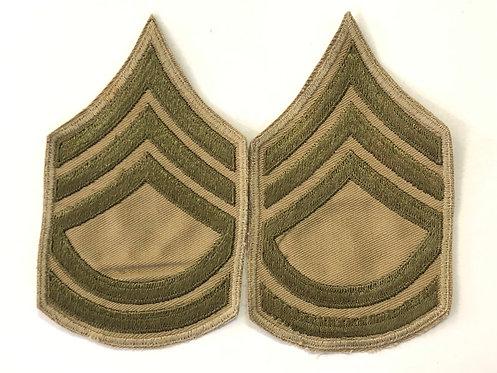 US Army WW2 Sergeant First Class Khaki Twill Ranks - Pair
