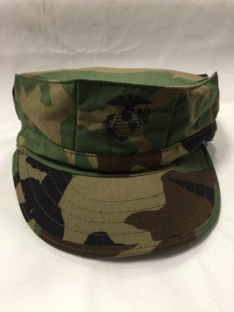 R&B USMC 8-POINT COVER WOODLAND CAMO TOP STITCH CAP WITH EGA HAT