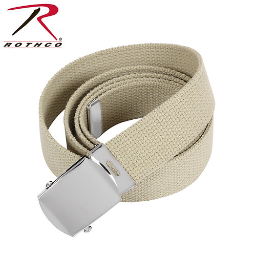 Military Khaki Cotton Web Belt w/ Silver Buckle
