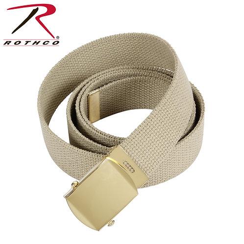Military Khaki Cotton Web Belt w/ Gold Buckle