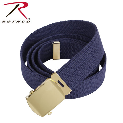 Military Navy Blue Cotton Web Belt w/ Gold Buckle