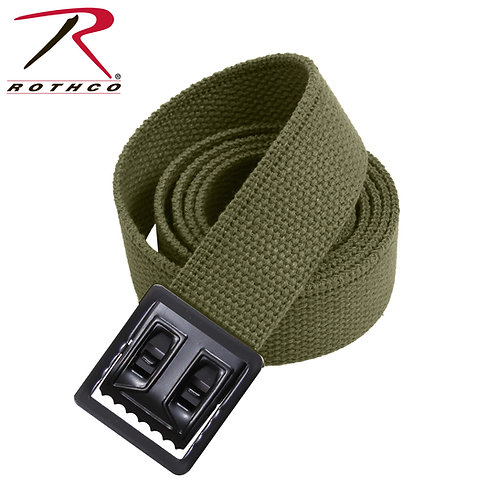 Military Olive Green Cotton Web Belt - Open Face Buckle