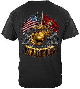 """USMC Marine """"Gold EGA & Flag"""" T-shirt"""