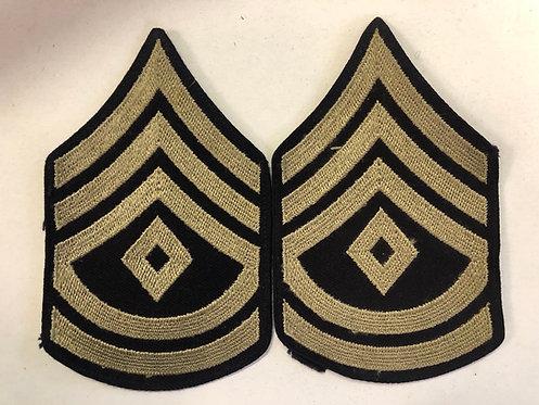 US Army WW2 First Sergeant Navy Twill Rank - Pair