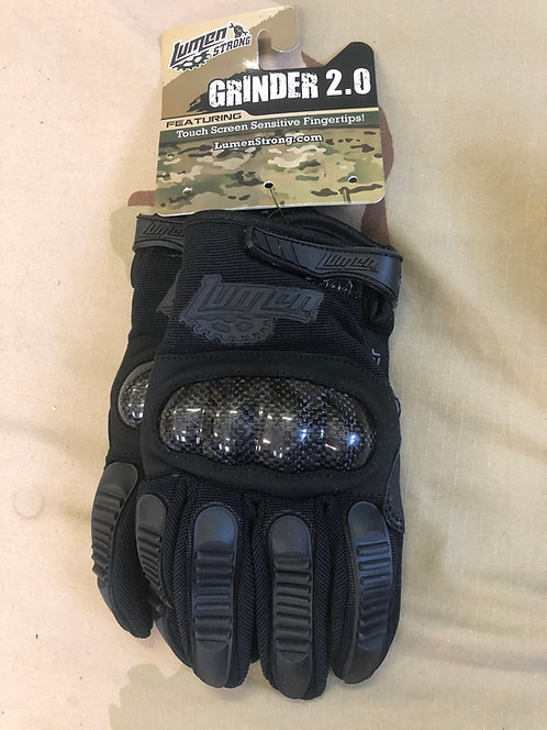 Black Leather Tactical Gloves w/ Carbon Fiber Knuckles