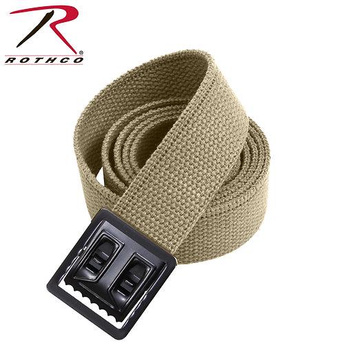 Military Khaki Cotton Web Belt w/ Open Face Buckle