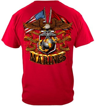 USMC Double Eagle & Flags Military T-Shirt