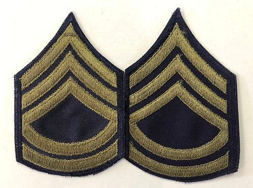 US Army 1950's Sergeant 1st Class Navy Twill Ranks - Pair