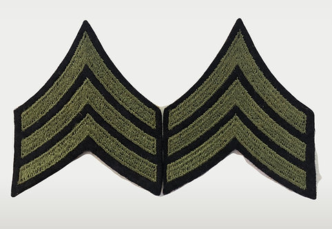 US Army WW2 Sergeant Navy Blue Wool Ranks w/ Cheesecloth Backing - Pair