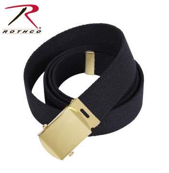 Military Black Cotton Web Belt w/ Gold Buckle