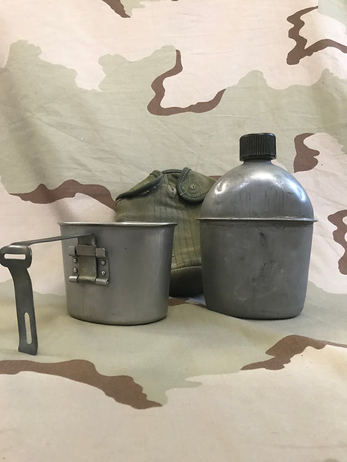 WW2 M-1942 Steel Canteen w/ Cup and Canvas Pouch