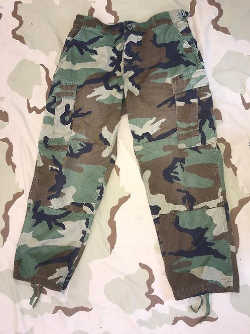 USGI Woodland Camo BDU Trousers Combat Pants - Average Used