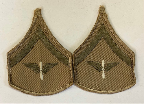 US Army Air Corps WW2 Lance Corporal Khaki Ranks - Pair