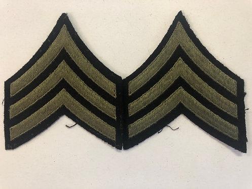 US Army WW2 Sergeant Navy Blue Wool Ranks - Pair