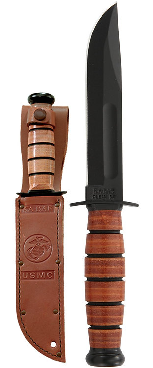 1250 USMC Short Ka-Bar Knife - Straight Edge