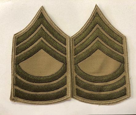 US Army WW2 Master Sergeant Khaki Twill Ranks - Pair
