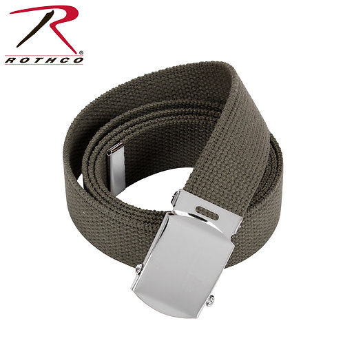 Military OD Green Cotton Web Belt w/ Silver Buckle