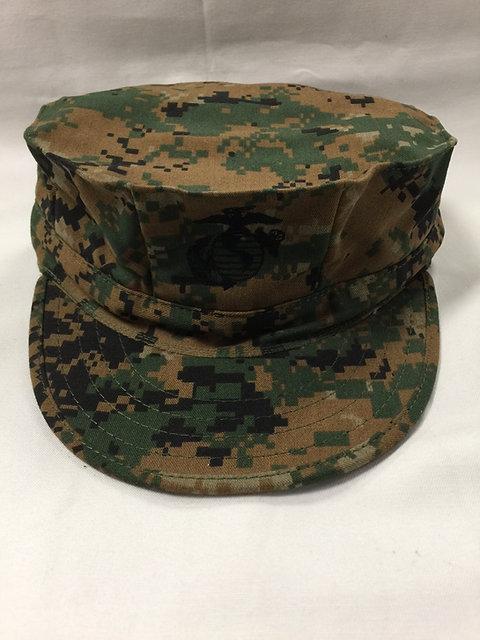 R&B USMC 8-POINT MARPAT COVER WOODLAND DIGITAL CAMO TOP STITCH CAP WITH EGA  HAT